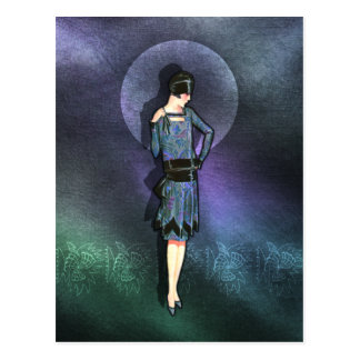 Charla - 1920s Fashion in Blue, Teal and Mauve Postcard
