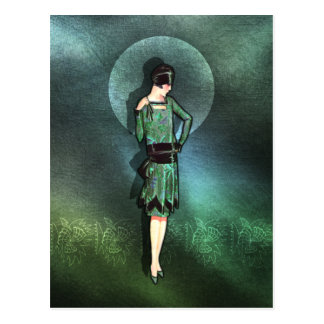 Charla - 1920s Fashion in Sage, Green and Aqua Postcard
