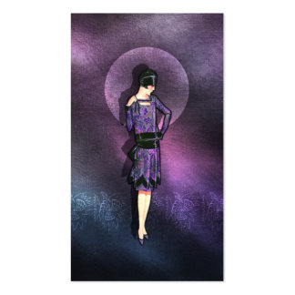 Charla - 1920s Fashion in Steel Blue and Purple Business Card