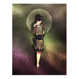 Charla - 1920s Fashion in Taupe, Brown & Yellow Postcard