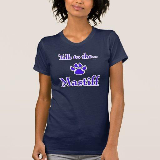 Charla a la camiseta del azul del mastín playeras
