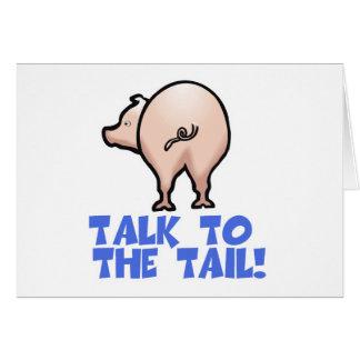 Charla al cerdo guarro de la cola tarjeta