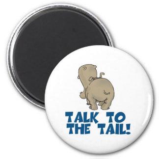 Charla al hipopótamo de la cola imán redondo 5 cm