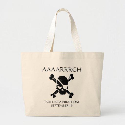 Charla como un día del pirata bolsa lienzo