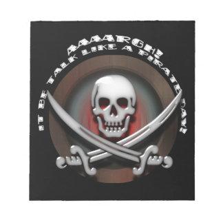 Charla como un día del pirata - espadas del cráneo bloc de notas