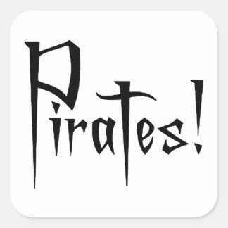 Charla como un día del pirata calcomanía cuadradas