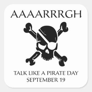 Charla como un día del pirata pegatina cuadradas