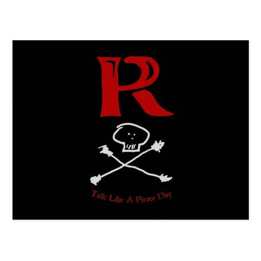 """Charla como un día """"R """" del pirata Tarjetas Postales"""