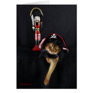 Charla como un gato somalí del día del pirata tarjeta de felicitación