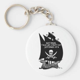 Charla como una nave del día del pirata llavero redondo tipo pin