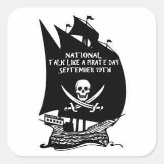 Charla como una nave del día del pirata colcomanias cuadradases