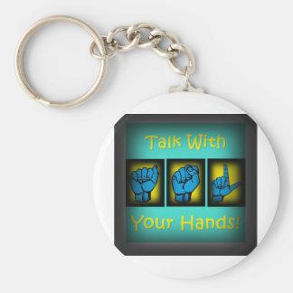 Charla con sus manos (2) llaveros personalizados