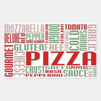 charla de la pizza pegatina rectangular