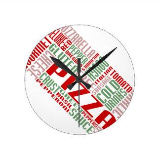 charla de la pizza reloj de pared