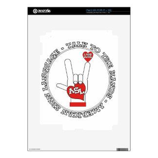 CHARLA DEL ASL AL LENGUAJE DE SIGNOS DE LAS MANOS iPad 2 CALCOMANÍA