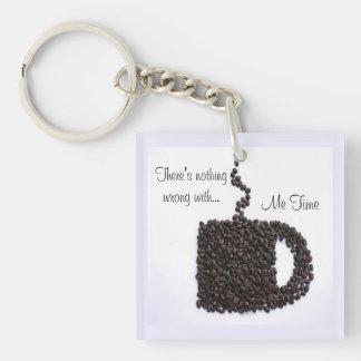 Charla del café llavero cuadrado acrílico a una cara