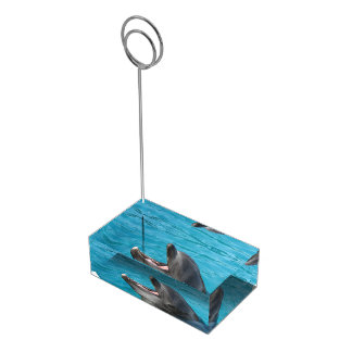 Charla del delfín soporte para tarjeta de mesa