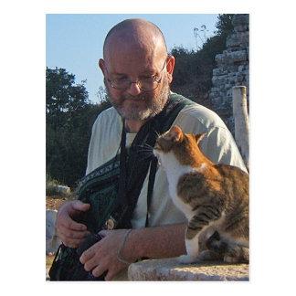 Charla del gato en la postal de Ephesus