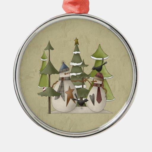 Charla del muñeco de nieve adorno navideño redondo de metal