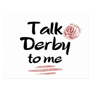 Charla Derby a mí acuarela del rosa rojo Postal