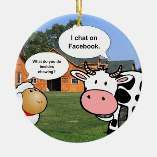 Charla divertida del facebook del dibujo animado adorno navideño redondo de cerámica