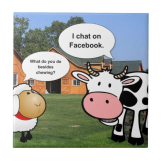 Charla divertida del facebook del dibujo animado l azulejo cuadrado pequeño