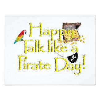 """¡Charla feliz como un día del pirata! Invitación 4.25"""" X 5.5"""""""