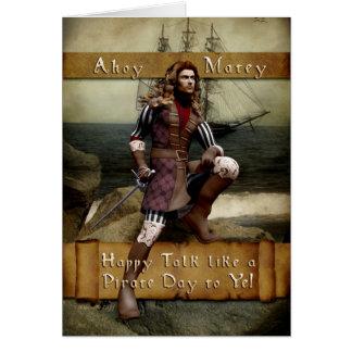 Charla internacional feliz como un día del pirata tarjeta de felicitación