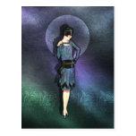 Charla - moda de los años 20 en azul, trullo y col postales