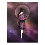 Charla - moda de los años 20 en color de malva y tarjeta postal