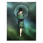 Charla - moda de los años 20 en sabio, verde y agu postal