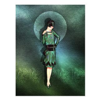 Charla - moda de los años 20 en sabio verde y agu postal