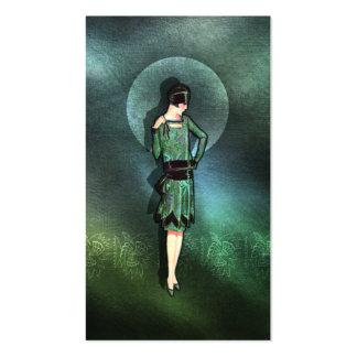 Charla - moda de los años 20 en sabio, verde y tarjetas de visita