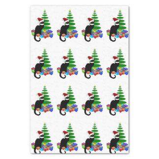 Charla Noir con el árbol de navidad y los regalos Papel De Seda Pequeño