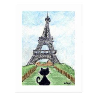 Charla Noir del gato negro que mira arte de la Postal