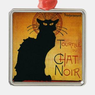 Charla Noir - gato negro Adorno Cuadrado Plateado