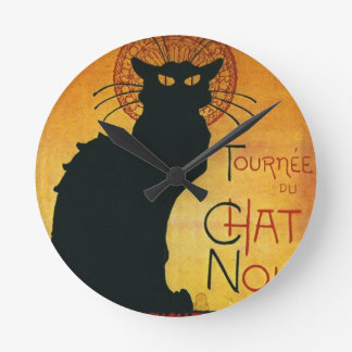 Charla Noir - gato negro Reloj Redondo Mediano