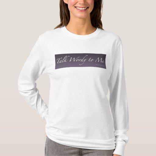 Charla prolija a mí camisa púrpura del logotipo