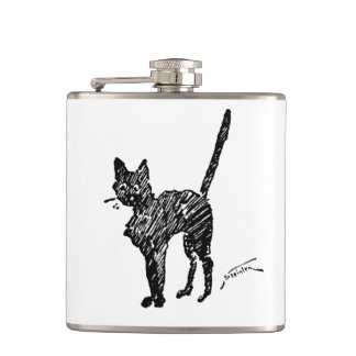 Charla Steinlen Noir de Nouveau del arte del gato Petaca