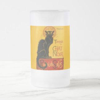 Charla Steinlen Noir de Nouveau del arte del gato Taza Cristal Mate