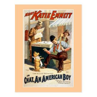 Charla, un cartel americano del teatro del vintage postal