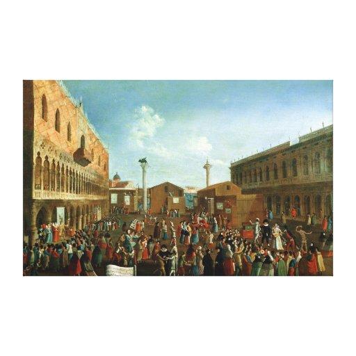Charlatanes en el Piazzetta San Marco, Venecia Impresion De Lienzo