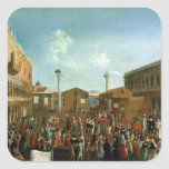 Charlatanes en el Piazzetta San Marco, Venecia Pegatina Cuadrada