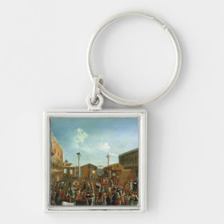 Charlatans in the Piazzetta San Marco, Venice Silver-Colored Square Keychain