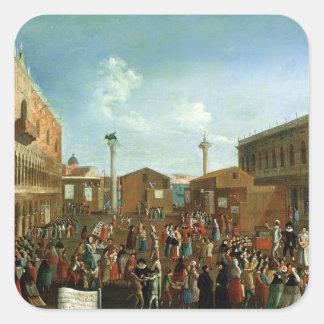 Charlatans in the Piazzetta San Marco, Venice Square Sticker