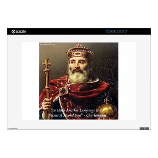 "Charlemagne & Famous Languages Quote 15"" Laptop Skin"
