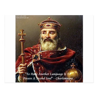 Charlemagne & Famous Languages Quote Postcard