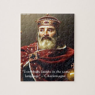 """Charlemagne """"Laughter Language"""" Quote Gifts & Tees Jigsaw Puzzle"""