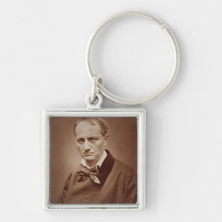 Charles Baudelaire (1821-67), French poet, portrai Silver-Colored Square Keychain