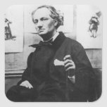 Charles Baudelaire con los grabados, c.1863 Pegatina Cuadrada